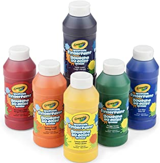 Crayola Washable Finger Paints, 6 Count, School Painting Supplies, Gifts for Kids, 4, 5, 6, 7