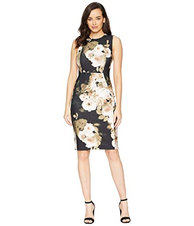 Calvin Klein Floral Print Sheath Dress (Black Multi) Women