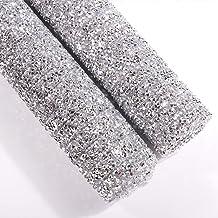 240X400mm Crystal Rhinestone Trim Hotfix Strass Crystal Mesh Banding Bridal Beaded Applique in Sheet for Dresses with 2mm Rhinestones 2pcs Crystal+Black Diamond