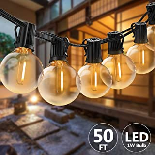 Svater Waterproof Outdoor String Lights 2x25FT LED Commercial Grade Patio Lights with 23 Hanging Socket 25 G40 Bulbs Connectable Ambience Pro Indoor Outdoor Lights for Cafe Garden Backyard Party