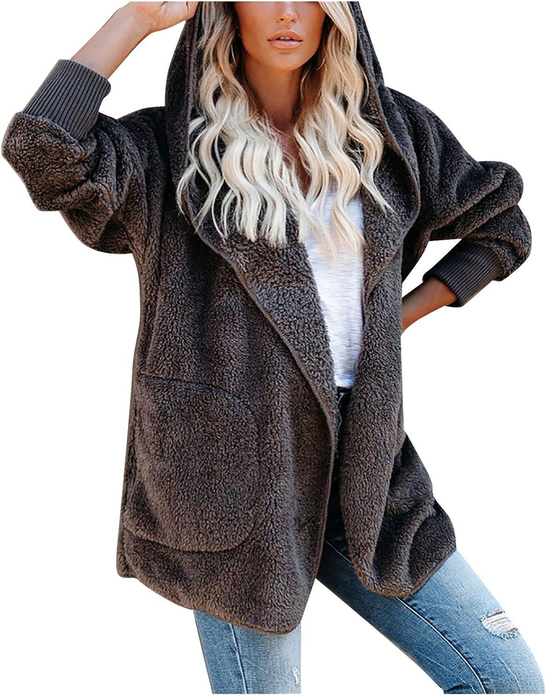 HGWXX7 Womens Cardigans Plus Size Fleece Sherpa Winter Coats Long Sleeve Full Zip Teddy Bear Jacket with Pocket Gray