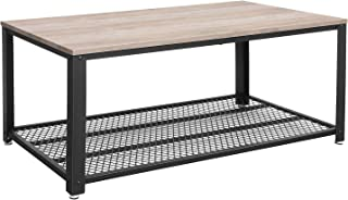 VASAGLE BRYCE Coffee Table with Storage Shelf for Living Room, Industrial Accent..