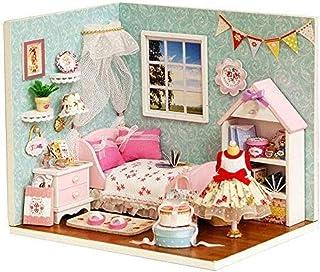 XYZMDJ Dockhus miniatyr gör-det-själv huskit kreativt rum med möbler för romantisk present