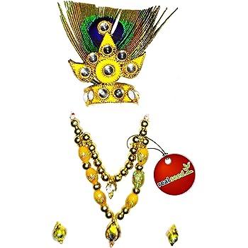 REAL SEED Brass Bal Krishna Decorative Crown (Multi_3.5 x 2.5 cm)