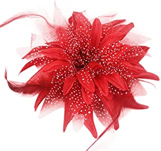 Women Dance Wedding Party Hair Clip Flower Feather Hairpin Fascinator Brooch Pin Accessory