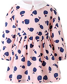 SMILING PINKER Toddler Girls Fall Dresses Floral Casual White Cotton Long Sleeve Dress