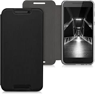 kwmobile Case for LG Google Nexus 5X - Book Style Flip Folio Slim Wallet Cover with Stand Feature - Black