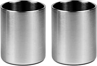Stainless Whiskey Old Fashioned Glass - Double Walled - 10oz Lowball by Lancaster Steel, set of 2