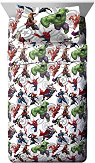 Jay Franco Marvel Avengers Marvel Team Full Sheet Set - Super Soft and Cozy Kid's Bedding - Fade Resistant Polyester Microfiber Sheets (Official Marvel Product)