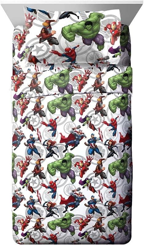 Jay Franco Marvel Avengers Marvel Team Full Sheet Set Super Soft And Cozy Kid S Bedding Fade Resistant Polyester Microfiber Sheets Official Marvel Product