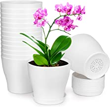HOMENOTE Plant Pots, Set of 15 Plastic Planters with Multiple Drainage Holes and Tray 6 inch Indoor Plant Pot for All Home...