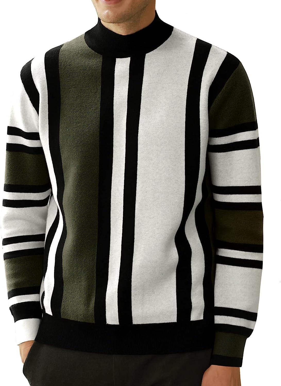 1960s Mens Shirts | 60s Mod Shirts, Hippie Shirts GRACE KARIN Mens Vintage Stripes Pullover Stand Collar Mockneck Jumper Sweater  AT vintagedancer.com