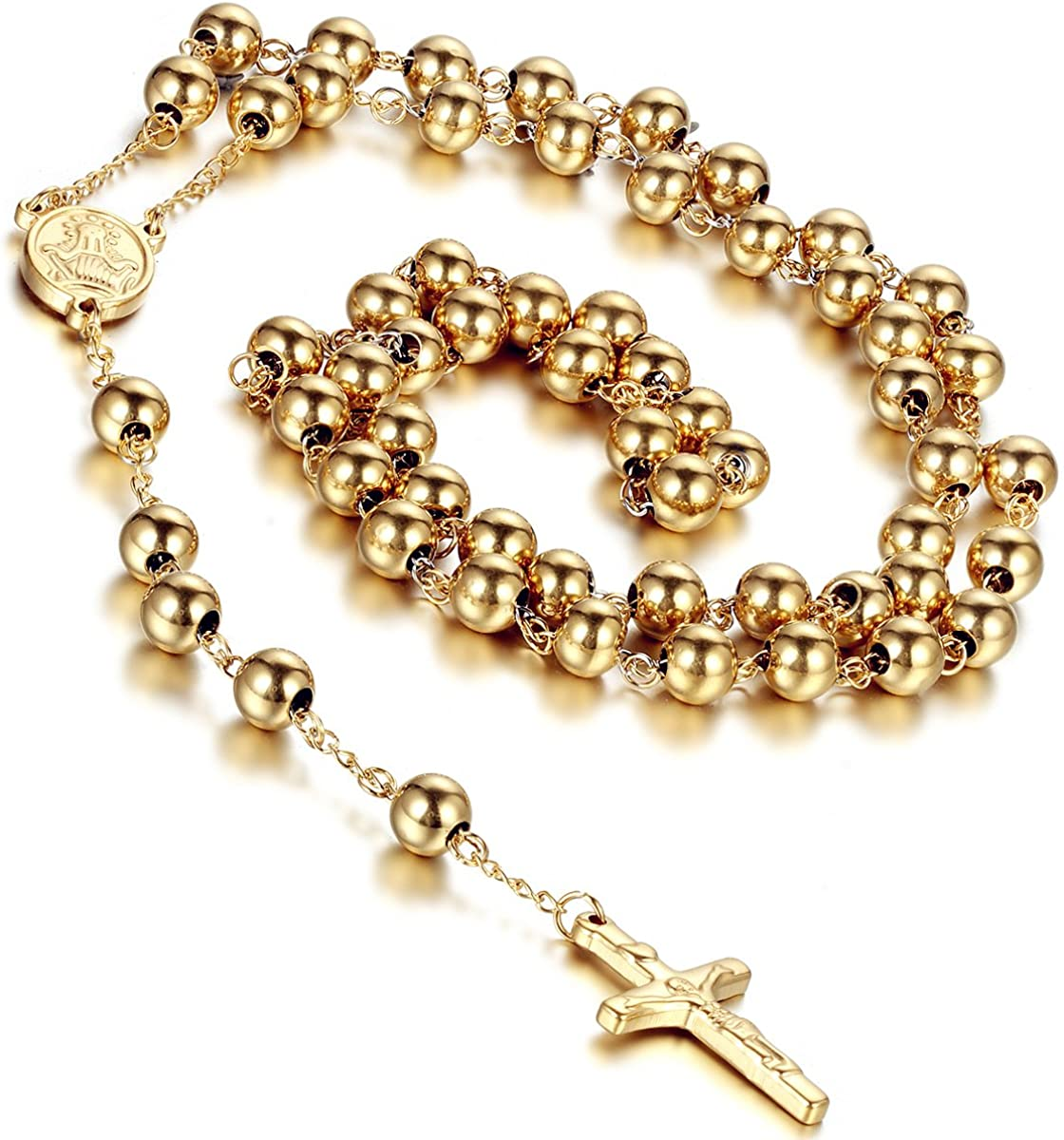 Flongo Womens Men's Stainless Steel 8mm Beads Gold Jesus Christ Crucifix Cross Rosary Pendant Necklace, 37 inch ?-
