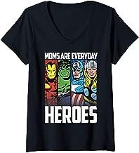 Womens Marvel Avengers Moms Are Everyday Heroes Vintage Panels V-Neck T-Shirt