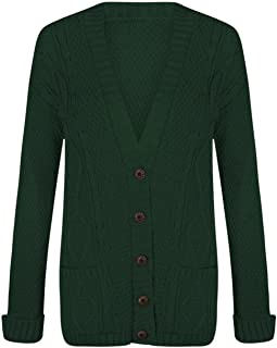 Women Ladies Long Sleeve Button Top Chunky Aran Cable Knitted Grandad Cardigan (Small To XXLarge)