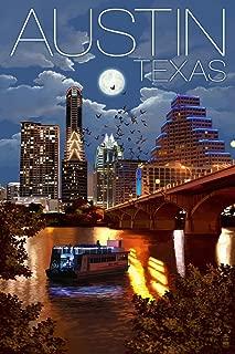 Austin, Texas - Skyline at Night (9x12 Art Print, Wall Decor Travel Poster)