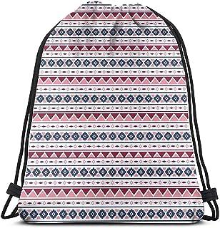 Bolsa de cordón con cordón, bolsa de cuerda con diseño tribal con triángulos, rombos cuadrados, ilustración pastel, bolsa de gimnasio, bolsa de viaje, mochila deportiva