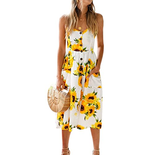 c23f0e7284 BMJL Women s Dresses V Neck Floral Print Strappy A Line Ladies Sleeveless  Cocktail Party Beach Summer