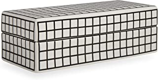 Now House by Jonathan Adler Grid Decorative Box, Black and White