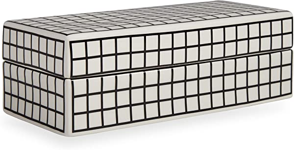 Now House By Jonathan Adler Grid Decorative Box Black And White