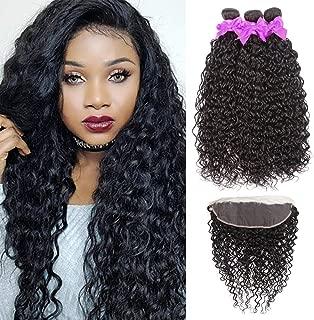 Miss CARA Water Wave Bundles with Frontal (22 24 26+20) 13x4 Free Part Brazilian Hair Lace Frontal 100% Virgin Human Hair Bundles Hair Extensions Natural Black Color