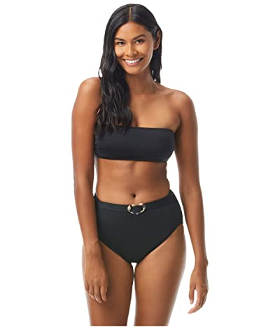 Kate Spade New York Heart Buckle Bandeau Bikini Top with Removable Soft Cups and Strap (Black) Women
