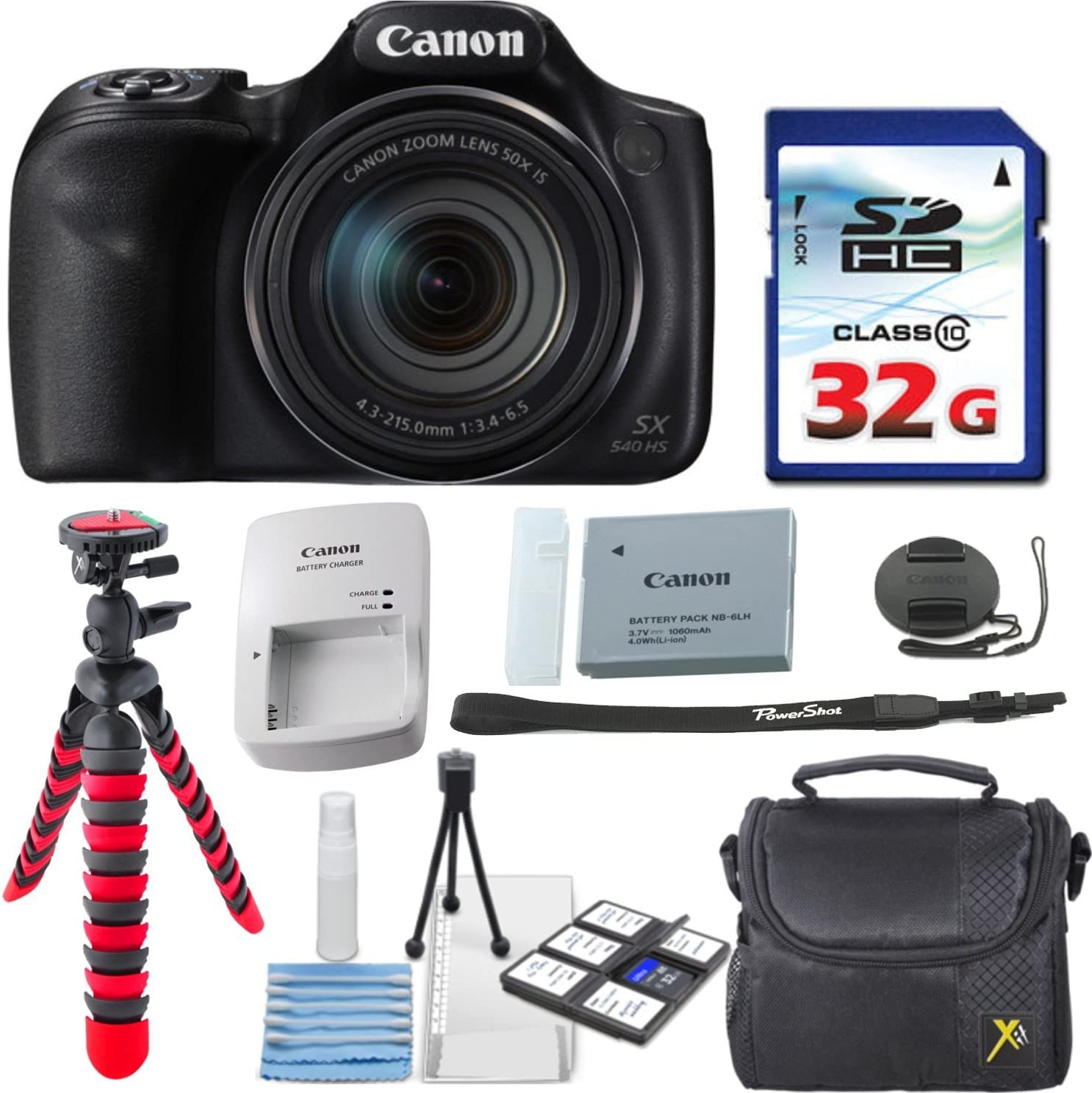 Canon Manufacturer regenerated product PowerShot SX540 Super sale HS + 32GB Card Speed High Memory Case