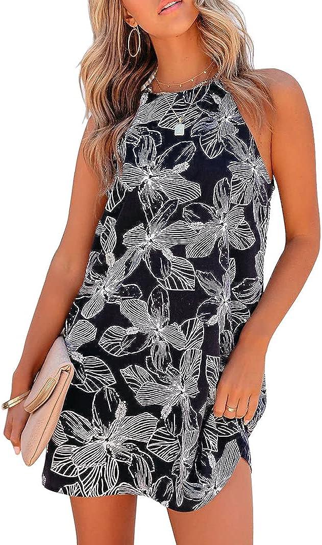 XCHQRTI Womens Halter Floral Printed Sleeveless Beach Mini Casual Dresses Summer Short Sundress