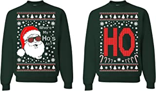 where my ho's at couple christmas sweater