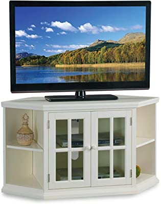 """Leick Home White 46"""" Corner Tv Stand with Bookcases"""