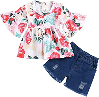 Betusline Baby & Little Girls Floral Ruffled Shirt Top + Ripped Jeans Shorts Set