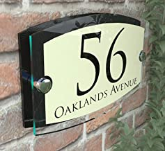 MODERN HOUSE SIGN PLAQUE DOOR NUMBER STREET GLASS EFFECT ACRYLIC ALUMINIUM NAME Esteem Vintage Pearl
