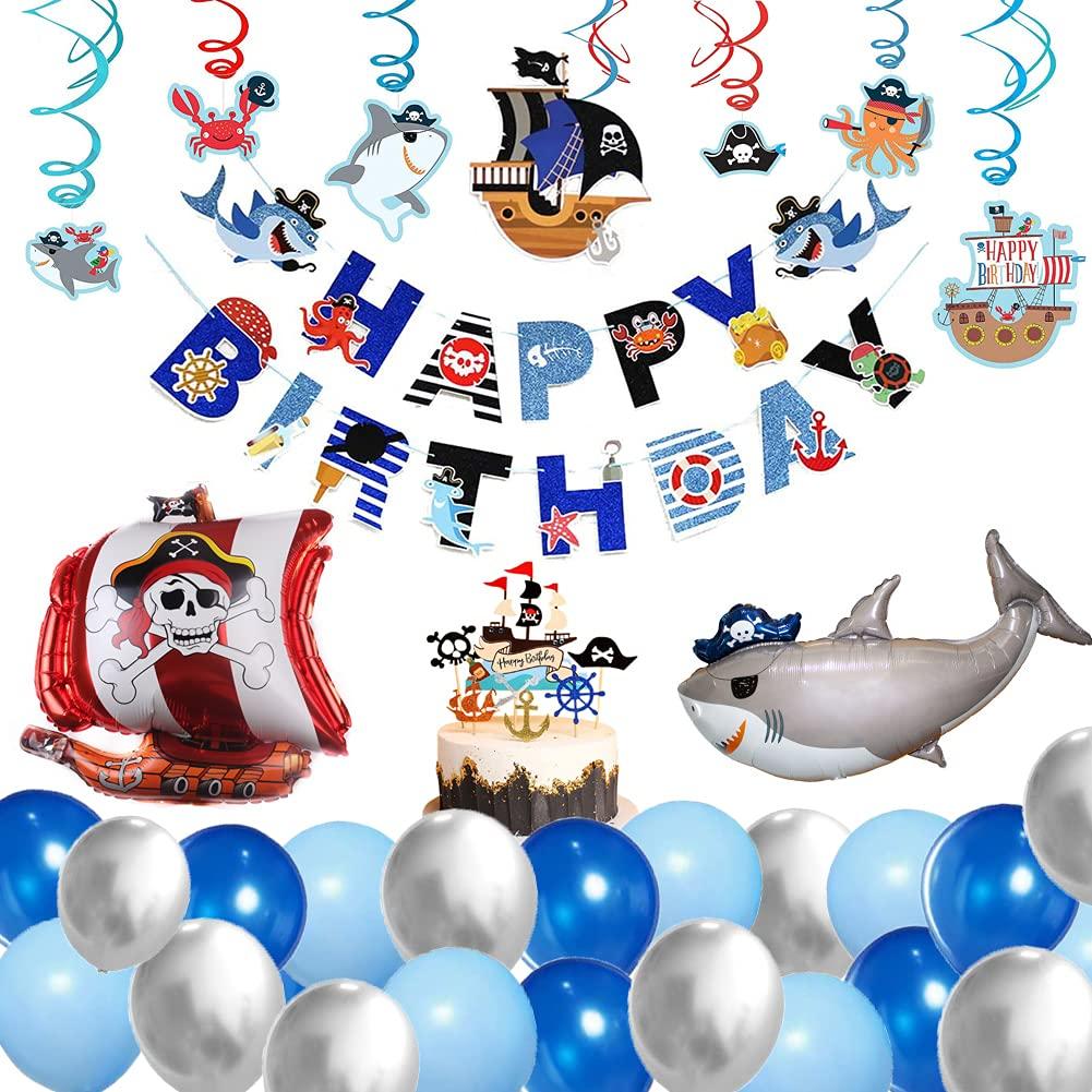 63x Pirata Animal marino Decoraciones de cumpleaños para niños - Pancarta de feliz cumpleaños brillo, Sea Rover Tiburón Globos, Remolinos de animales marinos, Detalles Fiesta de Infantiles