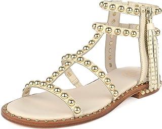 76194c0281d2 Ash Footwear Power Sandales Plates, Sandales en Cuir Ivoire, Sandales à  Crampons dorés,