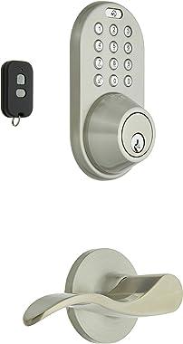 MiLocks XFL-02SN Digital Deadbolt Door Lock and Passage Lever Handle Combo with Keyless Entry via Remote Control and Keypad Code for Exterior Doors, Satin Nickel