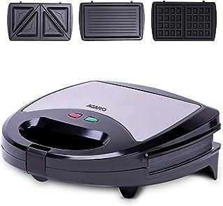 AGARO Regal 750 Watts 3-In-1 Sandwich Maker, Easy Detachable Non-Stick Plates For Sandwich, Grill & Waffle, 2 Slice