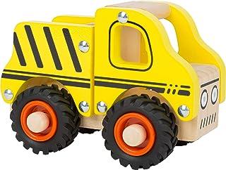 small foot 11096 insatsfordon byggfordon av trä, med lastyta och gummerade hjul, leksaker från 18 månader gul