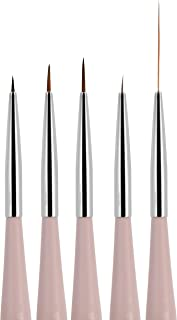 Beaute Galleria 5 Pieces Nail Art Liners (4mm, 7mm, 9mm) and Striping Brushes (5mm, 25mm) Set for Detailing, Striping, Fine Line, Blending, One-Stroke, Nylon Hair Acrylic Nail Painting Pen
