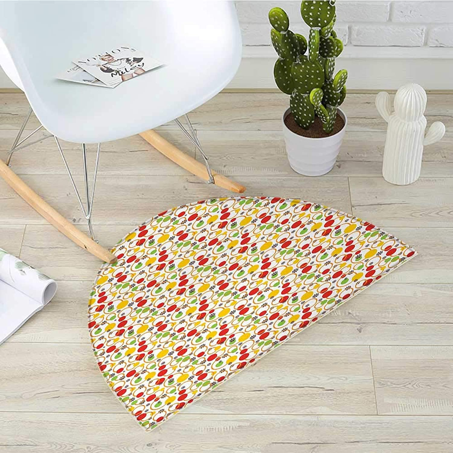 colorful Half Round Door mats Abstract Circles and Snowflake Pattern with Vibrant colors Geometric Composition Bathroom Mat H 35.4  xD 53.1  Multicolor