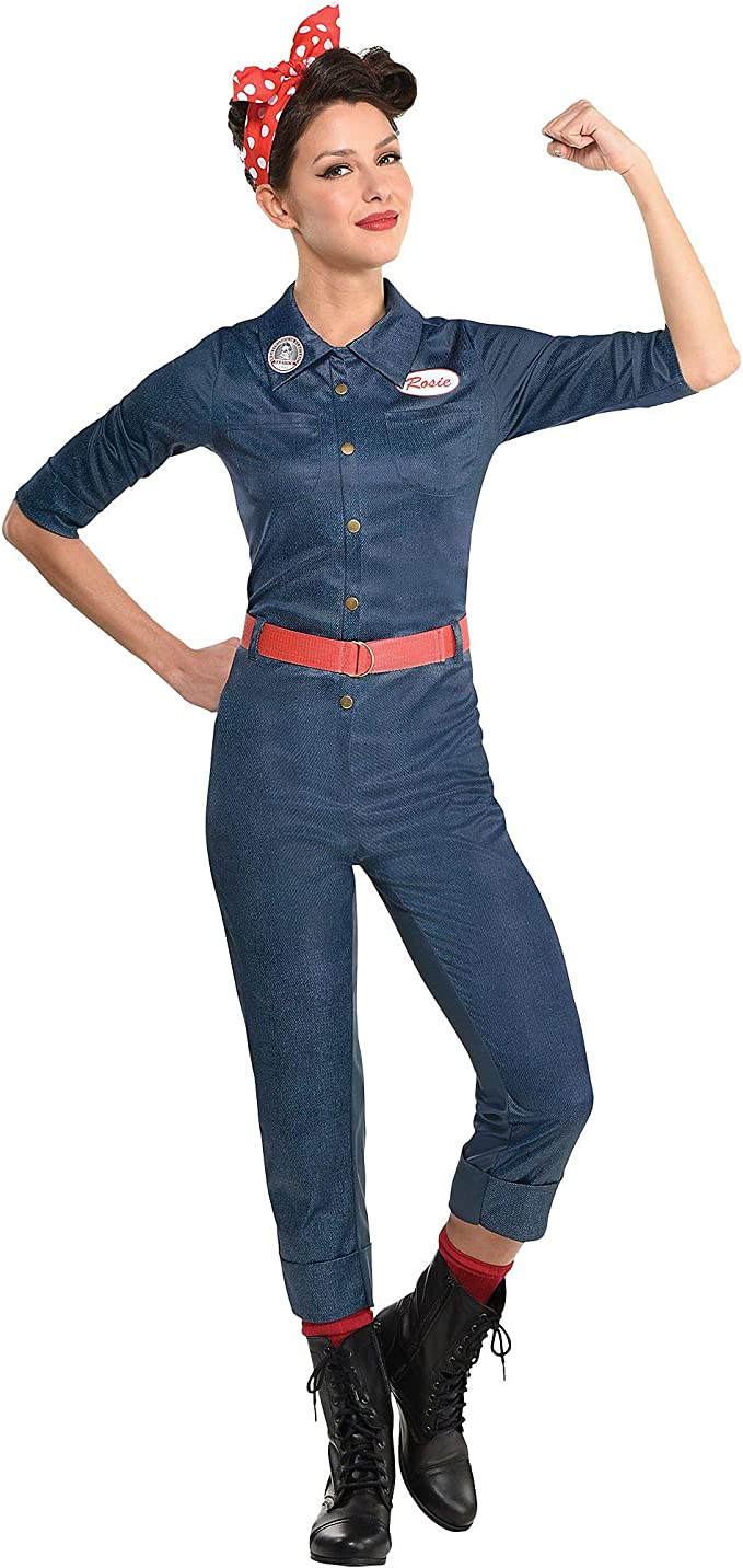 1940s Costumes- WWII, Nurse, Pinup, Rosie the Riveter Party City Rosie The Riveter Halloween Costume for Women Includes Jumpsuit Belt and Scarf  AT vintagedancer.com