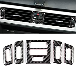 YUECHI 2pcs Carbon Fiber ABS Chrome for BMW 3 Series E90 E92 E93 2005 2006 2007 2008 2009 2010 2011 2012 2013 Car Center Control Decorative Panel Trim Accessories