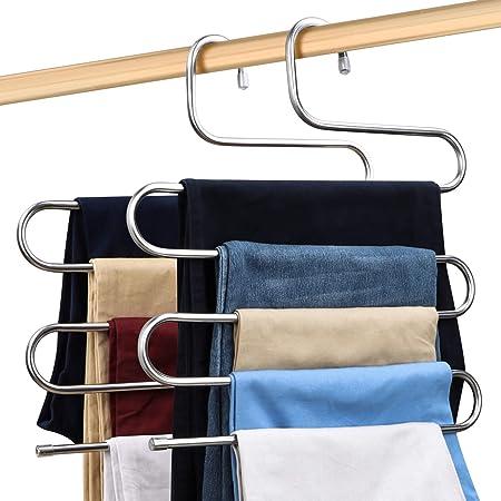 2 Piezas de Perchas para Pantalones Perchero de Acero Inoxidable Pesado para Pantalones Bufandas Vaqueros Blanco
