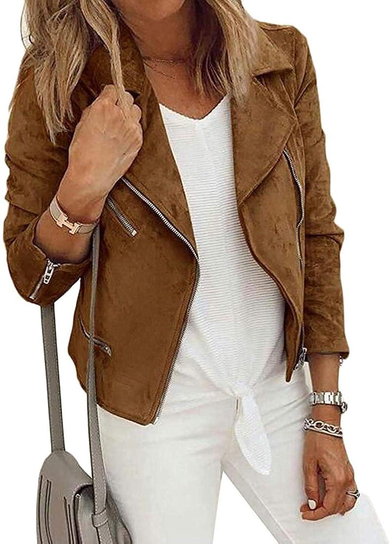 Women's Coats Jackets Long Sleeve Loose Fit Casual Motorcycle Jacket Coat