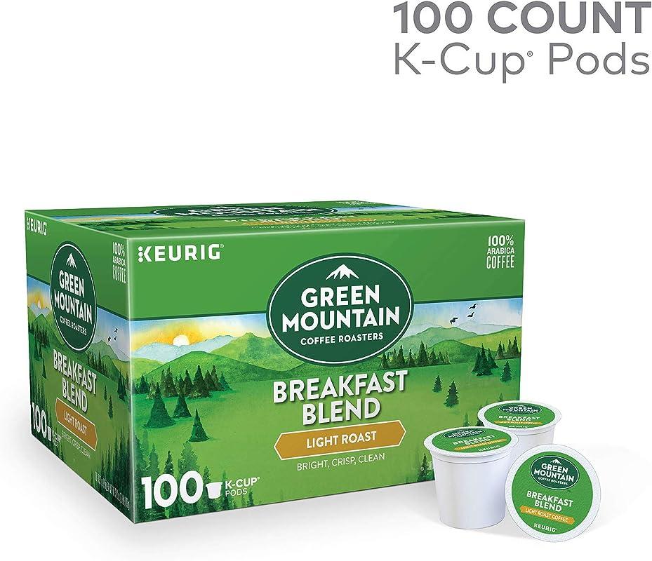 Green Mountain Coffee Roasters Breakfast Blend Light Roast Coffee Single Serve Pods 100 Count