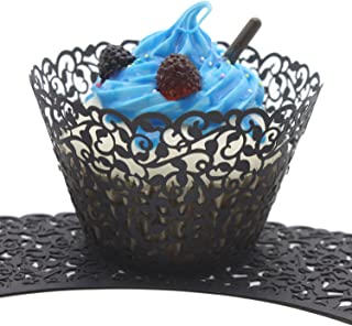 UNIQLED Filigree Artistic Bake Cake Paper Cups Little Vine Lace Laser Cut Liner Cupcake Wrappers Baking Cup Muffin Holder Case for Wedding Birthday Party Decoration (60, Black)