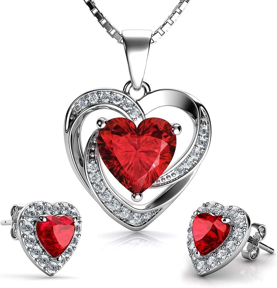 Dephini - set collana e orecchini a cuore rosso - argento sterling 925