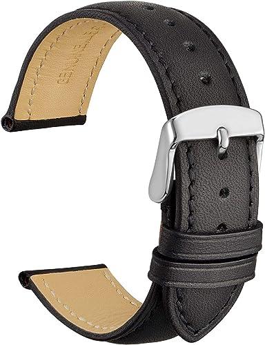 WOCCI Bracelets de Montre en Cuir Vintage avec Boucle en Argent Inoxydable, Bande de Remplacement 14mm 16mm 18mm 19mm...