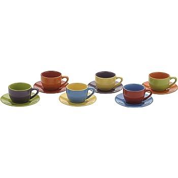 Artvigor Heart Shape Colored Glaze Latte Espresso Mugs