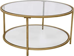"""Ravenna Home Parker Circle Shelf Storage Coffee Table, 31.5"""" W, Glass and Gold"""