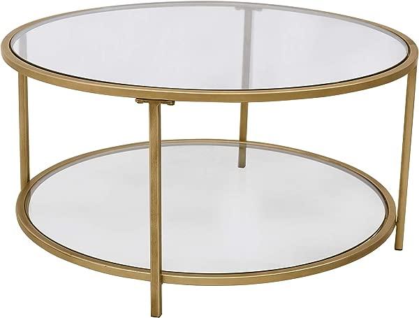Ravenna Home Parker Round Shelf Storage Coffee Table 31 5 W Glass And Gold